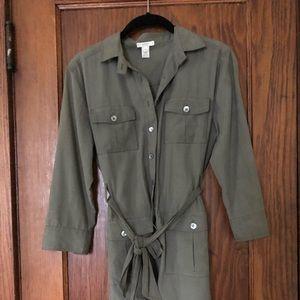 jcrew army green shirt dress size 4p
